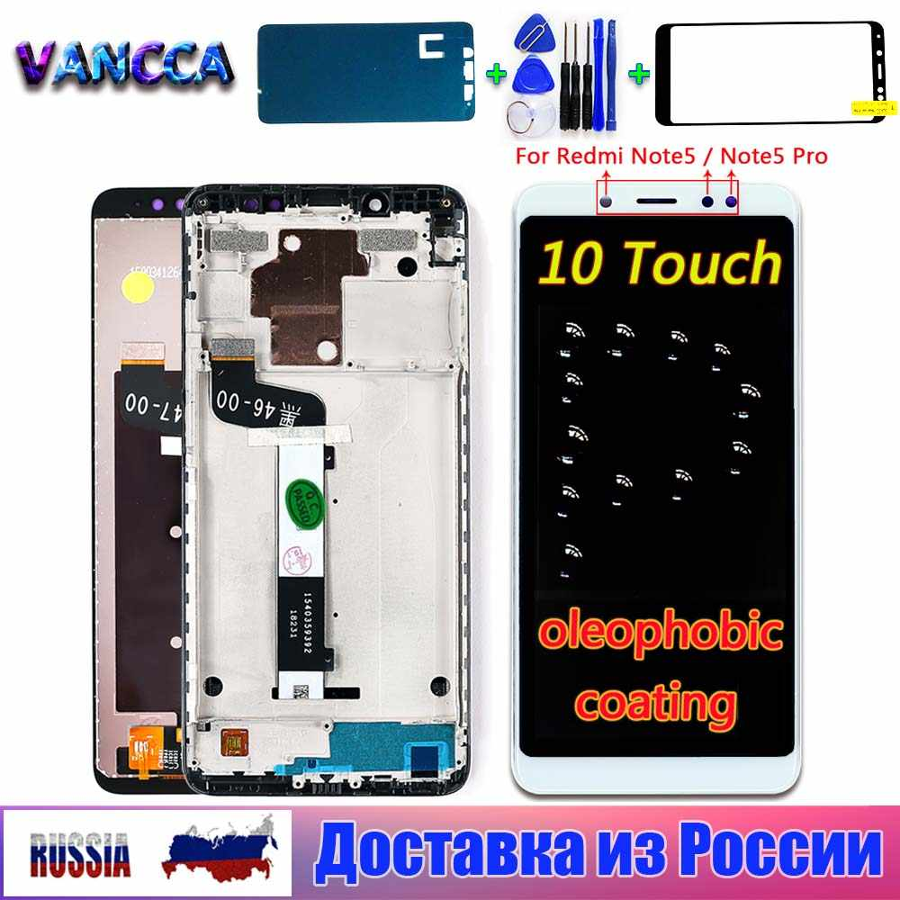 LIYUNSHU LCD Screen and Digitizer Full Assembly with Frame for Xiaomi Redmi Note 5 Note 5 Pro Black Color : Black