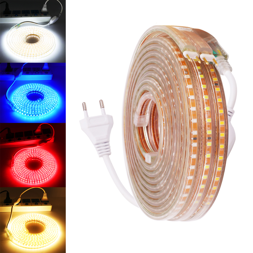 220V 240V <font><b>LED</b></font> Strip Light <font><b>2835</b></font> 120LED/M <font><b>LED</b></font> Ribbon Tape 120leds/m with EU Plug Flex <font><b>Led</b></font> Light for Home Decoration Linghting image