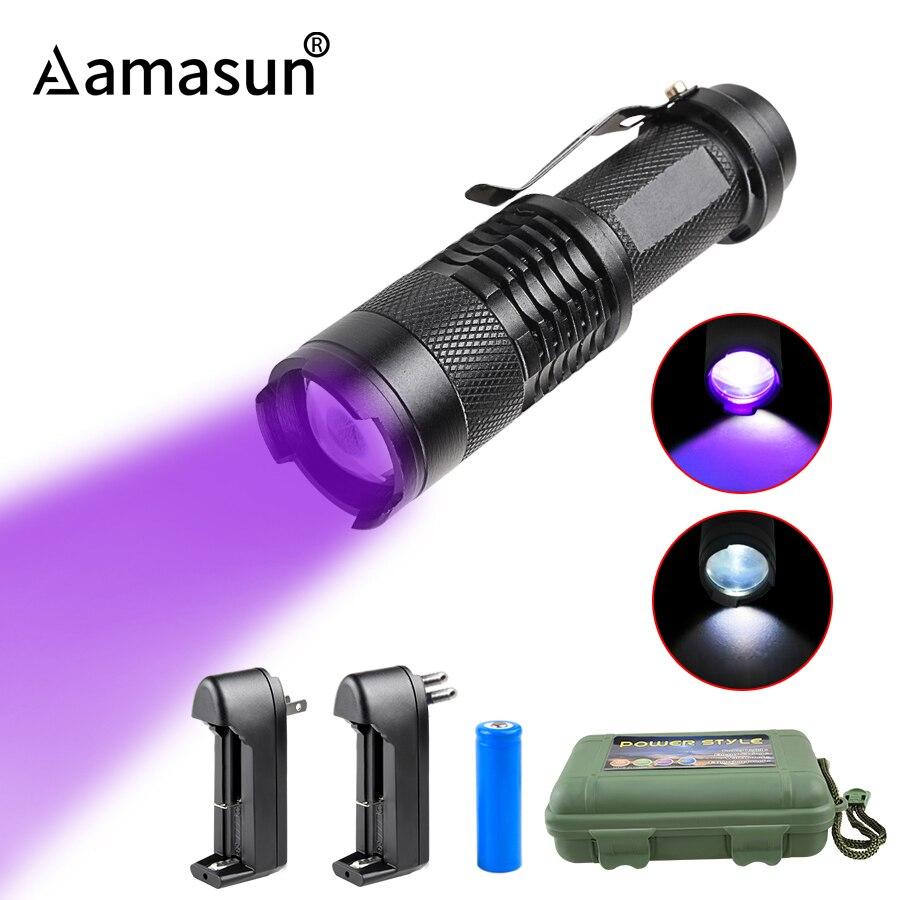 Zoomable 365nm 395nm UV Flashlight Ultraviolet Torch Mini UV Black Light Pet Urine Stains Detector Scorpion Hunting AA 14500