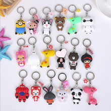 Anime Cartoon PVC Keychain Cute Bunny Captain Key Cover For Women Key Chain Panda keyring Bag Phone Straps Chain(China)