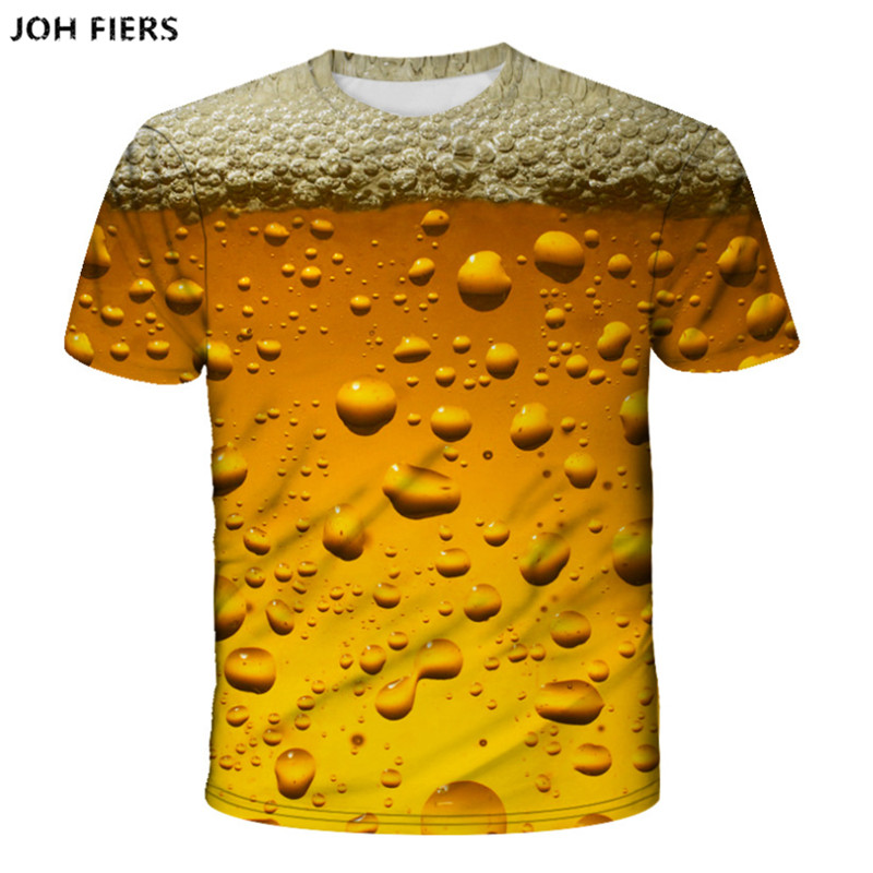 Yellow foam summer beer digital 3D printing tshirt men and women round neck short-sleeved T-shirt casual fashion T-shirt image