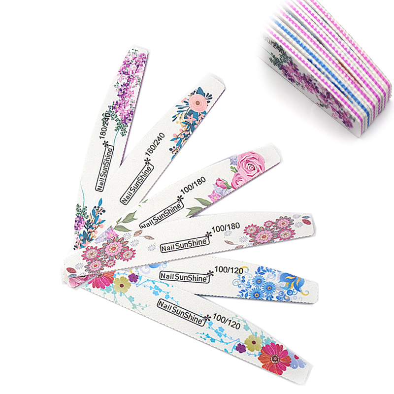 12pcs Nail File 100/120/180/240 Strong Double Side Nail Art Sanding Buffer Semilune Curved Buffer Block Washable Manicure Tools
