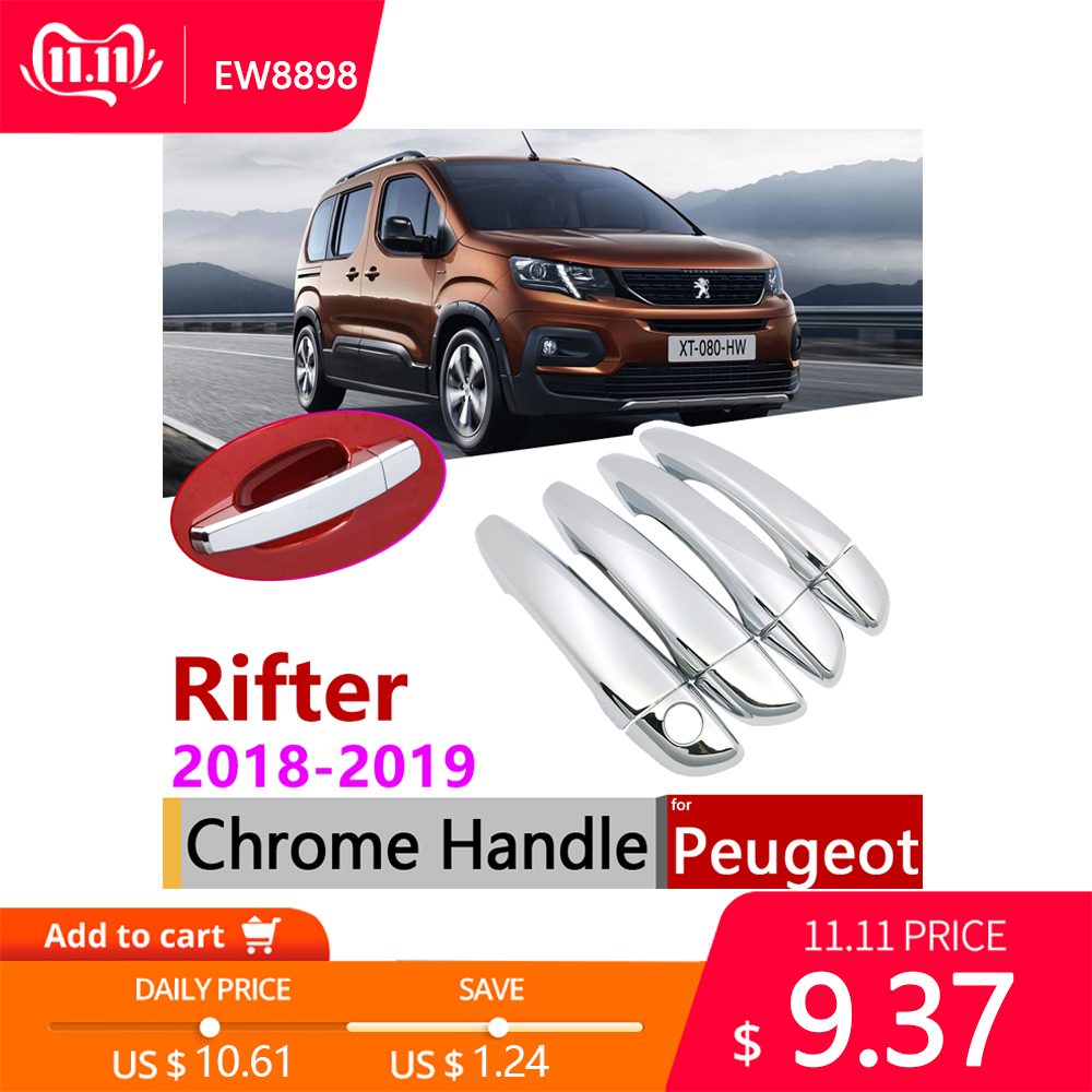 for Peugeot Rifter Partner 2018 2019 2020 Chrome Exterior Door Handle Cover Car Accessories Stickers Trim Set of 4Door-in Car Stickers from Automobiles & Motorcycles