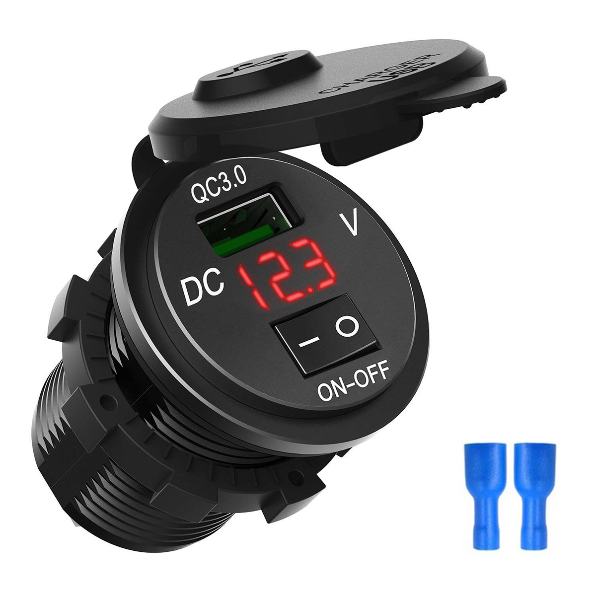 Quick Charge 3 0 USB Car Charger Socket Digital Display Voltmeter USB Charger Socket with ON-OFF Switch for Car Motorcycle ATV