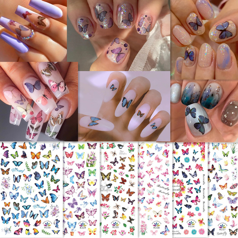 Watermark Slider Nail Stickers Nail Art Decal Water Transfer Flower Bronzing Butterfly Decoration Manicure Watermark Leaf Tips