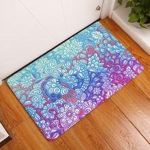 Mandala printed bathroom kitchen carpet floor mat cat for living