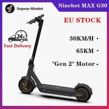 Ninebot – Scooter électrique intelligent pliable Max G30 KickScooter, Hoverboard, double frein 65Km, nouveau moteur Gen 2, Stock EU