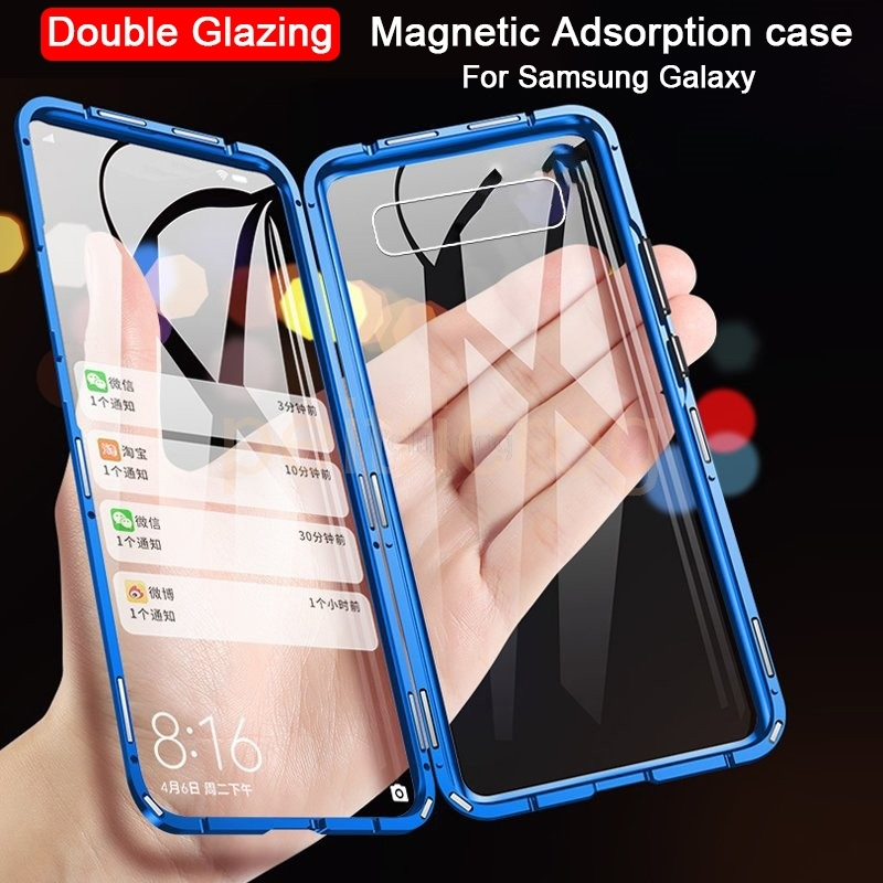 Магнитный металлический чехол для samsung Galaxy Note 10 Pro 8 9 S10 S9 S8 плюс A7 A8 A9 2018 A10 A50 A70 A20 A30 Двусторонняя стеклянная крышка|Специальные чехлы|   | АлиЭкспресс