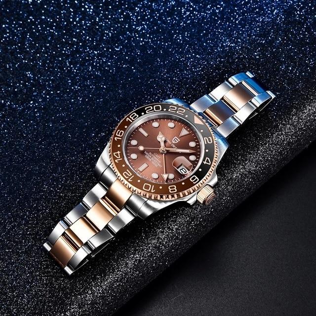 PAGANI DESIGN GMT 40mm Mechanical Wristwatch Men's Top Brand Stainless Steel Sports Waterproof Automatic Watch Relogio Masculino 5