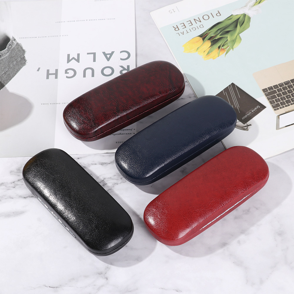 1Pcs Unisex Leather Glasses Case Hard Frame Waterproof Eyeglass Case Portable Reading Glasses Box Solid Spectacle Cases Eyewear