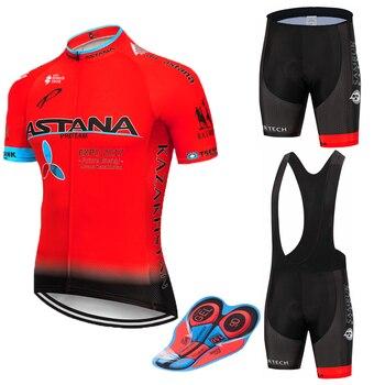 Conjunto de ciclismo astana vermelha 9d, camiseta e bermuda de equipe masculina secagem rápida para ciclistas, nova 2019 culotte 1