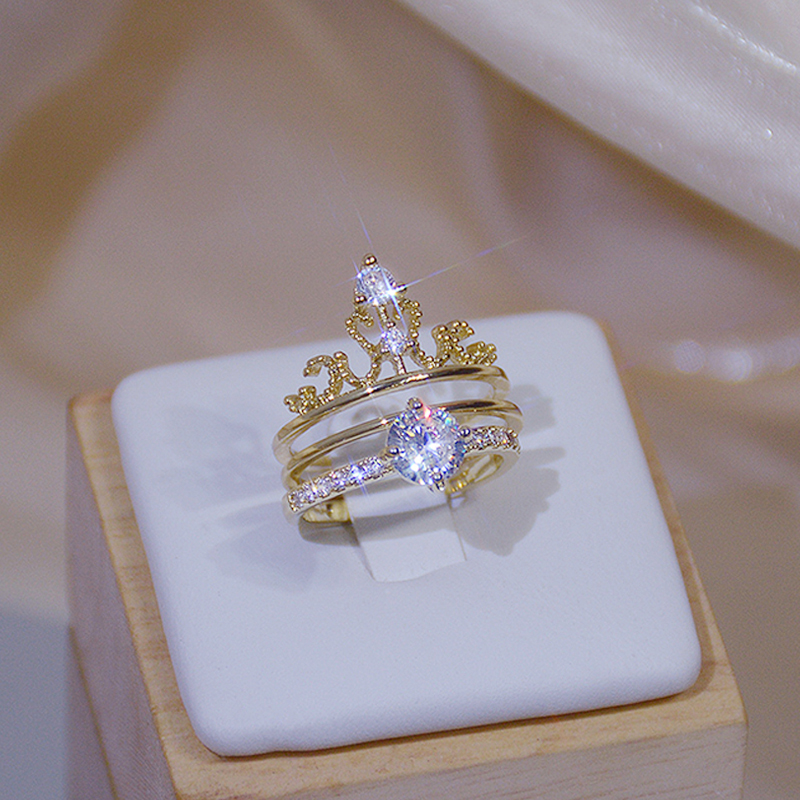 Luxury Shine Zirconia Crown Ring for Women 14K Real Gold Charm Exquisite Diamond Bague Anillos Jewelry Pendant Birthday Gift