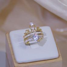 Luxo brilho zircônia coroa anel para mulher 14k real ouro charme requintado diamante bague anillos jóias pingente presente de aniversário