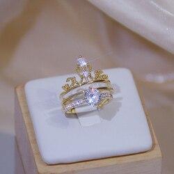 Brillant de luxe zircone couronne Bague pour les femmes 14K véritable or charme exquis diamant Bague Anillos bijoux pendentif cadeau d'anniversaire