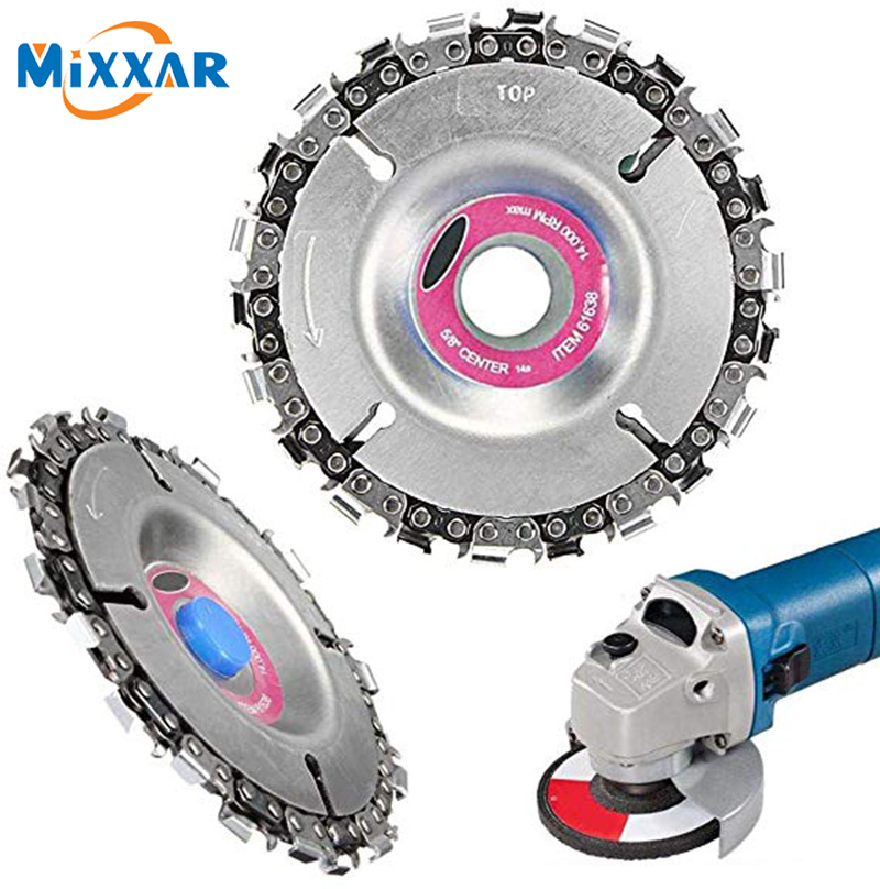ZK20 4/5 Inch Tooth Grinder Disc Fine Chain Saw 4 Inch Angle Carving Culpting Wood Grinder Chain Disc For 100/115 Angle Grinder