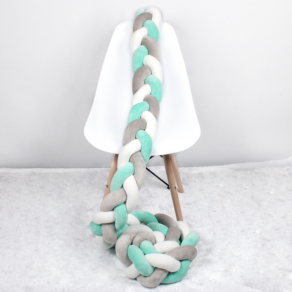 1M/2M/3M Length Nodic Knot Newborn Bumper Long Knotted Braid Pillow Newborn Crib Baby Bed Bumper In The Crib Infant Room Decor