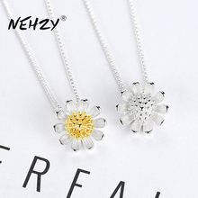NEHZY – collier en argent Sterling 925 pour femmes, pendentif chrysanthème Simple et rétro de haute qualité, Long 45CM, à la mode, nouvelle collection