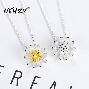 NEHZY 925 Sterling Silver Women's Fashion New Jewelry High Quality Retro Simple Chrysanthemum Pendant Necklace Long 45CM - discount item  40% OFF Fine Jewelry