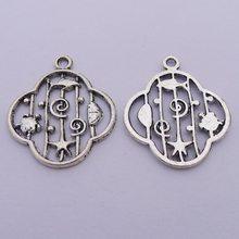 Breloques antiques en trèfle à quatre feuilles pour la fabrication de bracelets, couleur argent, 22x25mm, 10 pièces