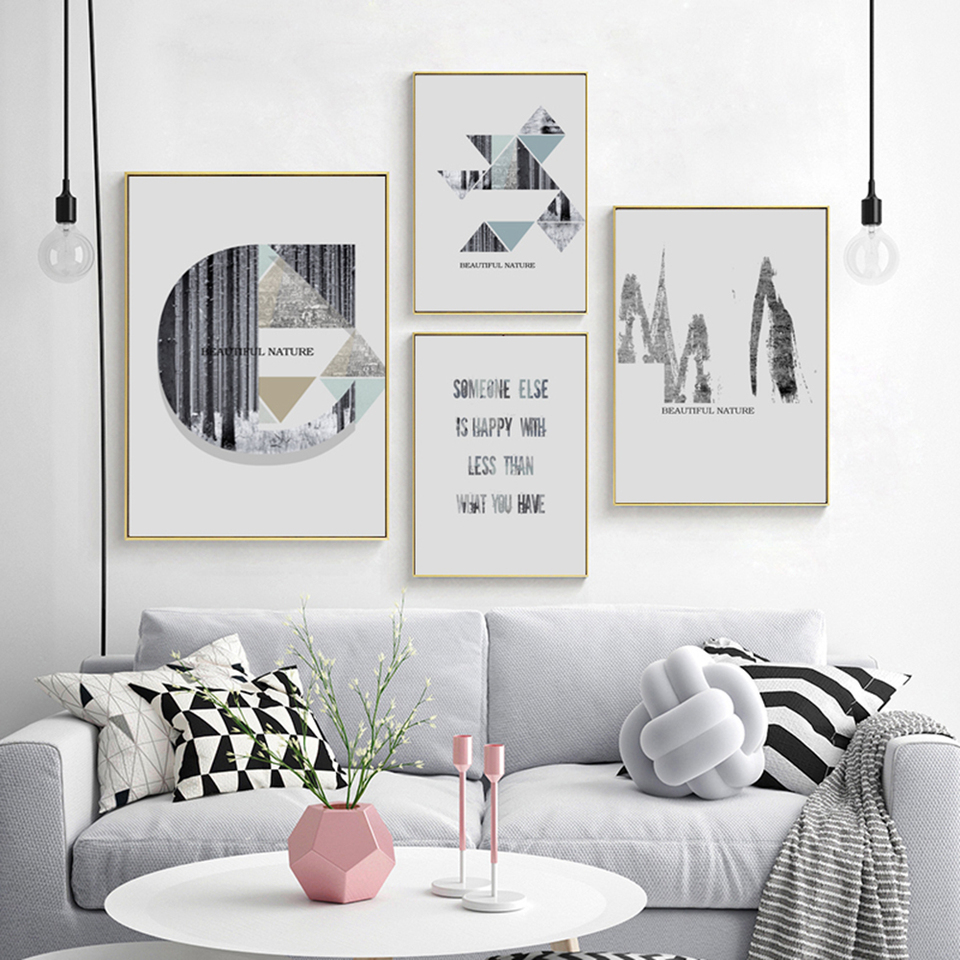 Beautiful Nature Geometry Wall Art Inspirational Canvas Painting Picture Wall Painting Living Room Aesthetic Room Decor Painting Calligraphy Aliexpress
