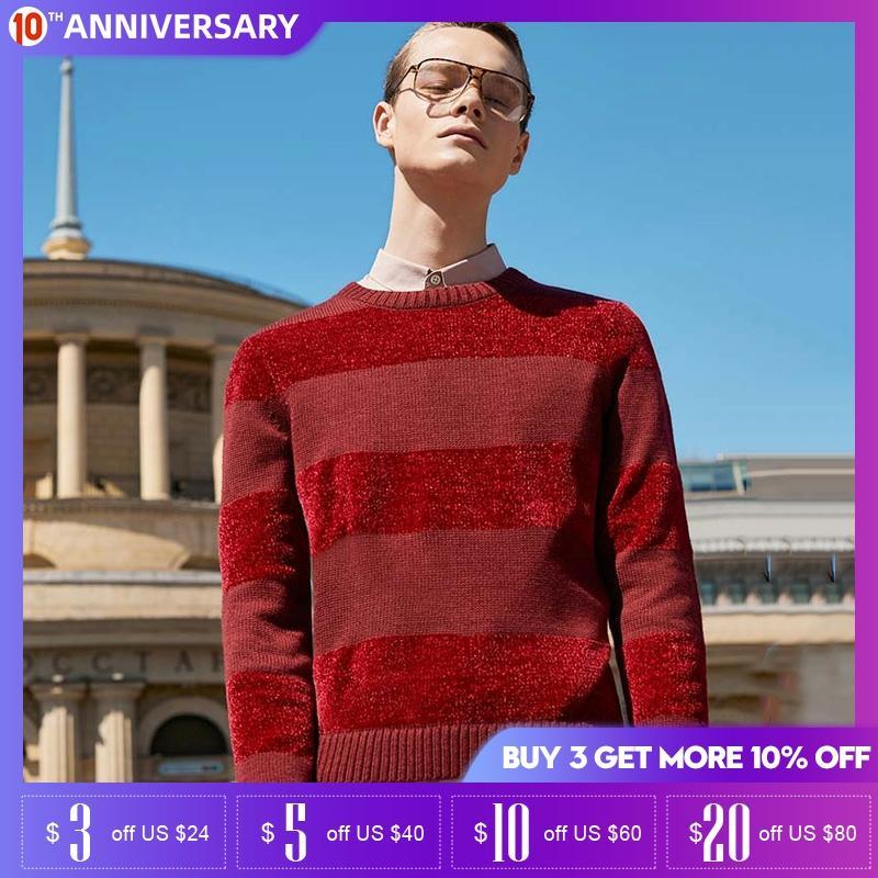 Jack Jones Mens Chenille Stripe Splice Round Neckline Knit Sweater|  219324532