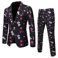 Menne Men's suit Main push up autumn new men's European and American letter print dress dress banquet dress
