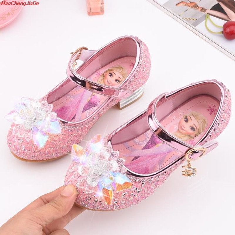 Four Seasons New Cartoon Girl Shoes Children High Heel Princess Single Shoes Cartoon Butterfly Leather Shoes 25-35 School