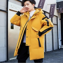 2019 winter new style middle age men casual warm hooded down coats luxury high quality Hooded thick long jacket