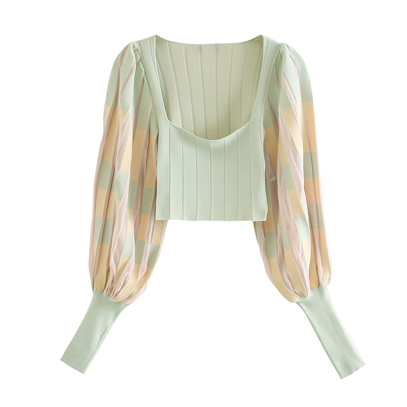 Fashion Women Vintage Knitted Pleated Blouses 2020 Long Lantern Sleeve Square Collar Casual Shirts Stripe Clothes 7
