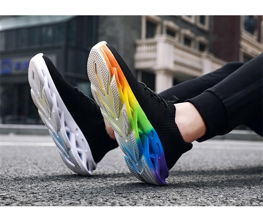 CREDRIZK Regenbogen farbige Sohlen Laufschuhe Männer Dämpfung Outdoor Sport Schuhe Atmungsaktiv Gym Turnschuhe Männer Trainer Athletisch