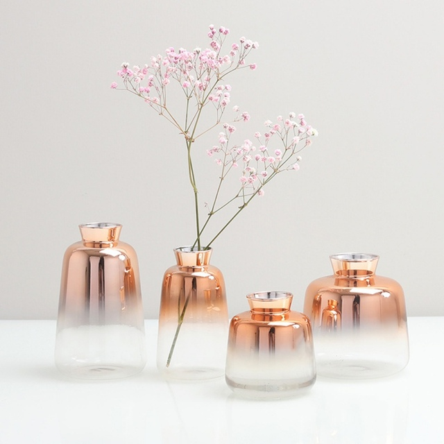 Nordic Glass Vase Electroplated Gold Vase Glass Flower Vases For Home Decor Dried Flower Bottle Bar Restaurant Decoration 1