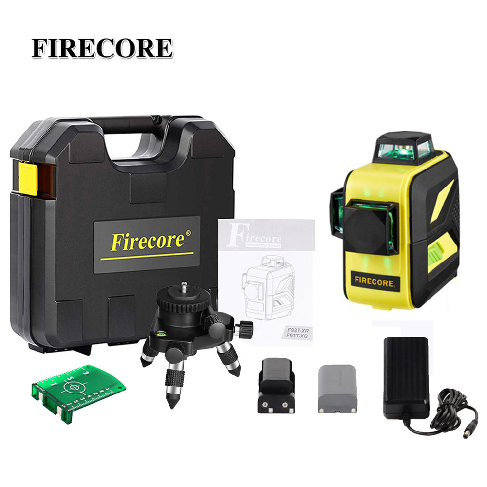 FIRECORE 12Lines 3D Green Laser Level Auto Self-Leveling 360 Suitcase Laser + Fine-Tuning