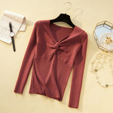 Women chest cross v neck sweaters and pullovers 2020 autumn