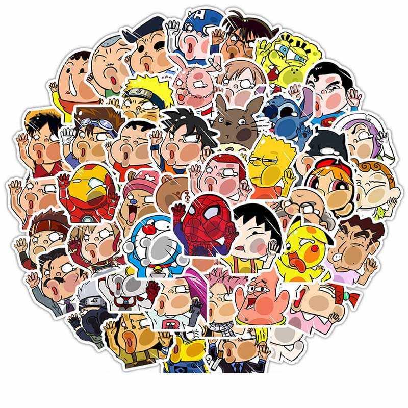 50 قطعة/المجموعة أنيمي تأثيري الدعامة ناروتو مضحك الكرتون ملصقا الطابع الكابتن أمريكا