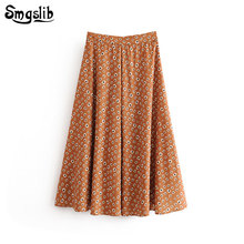 2019 Fashion Tide New Spring Autumn skirt england style orange floral A-line empire vintage Ankle-length long skirts