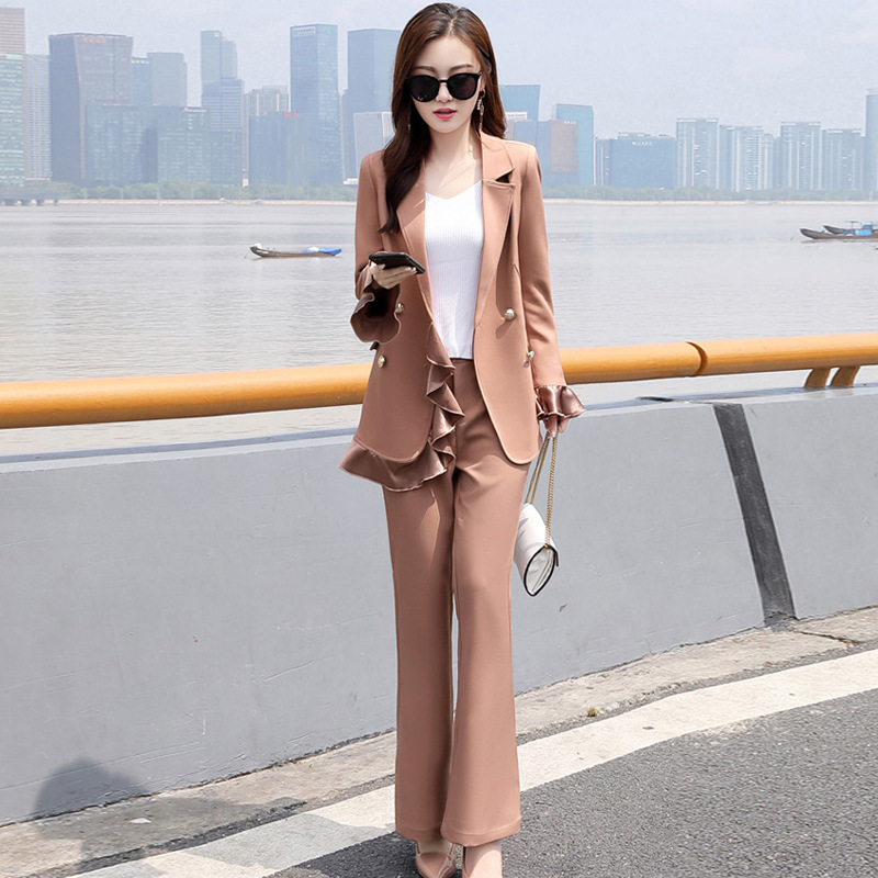Women's Suit Set Pants Suit High Quality 2019 New Double-breasted Long-sleeved Ruffled Women's Blazer Office Suit Two-piece
