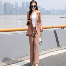 Women's suit set pants suit high quality 2019 new double-breasted long-sleeved ruffled women's blazer Office suit two-piece цена