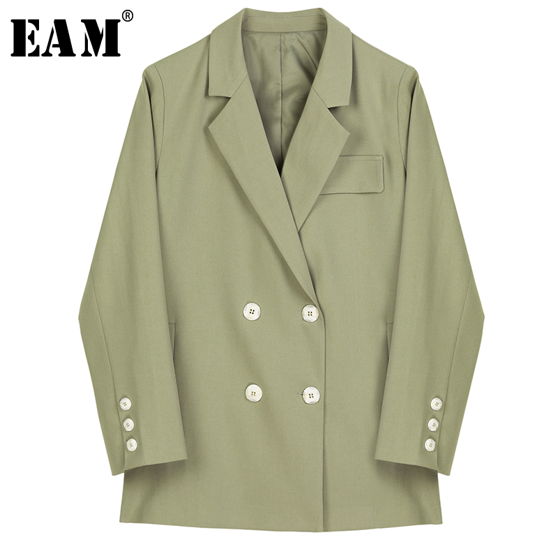 [EAM] Loose Fit Bandage Double Breasted Jacket New Lapel Neck Long Sleeve Women Coat Fashion Tide Autumn Winter 2019 1B008