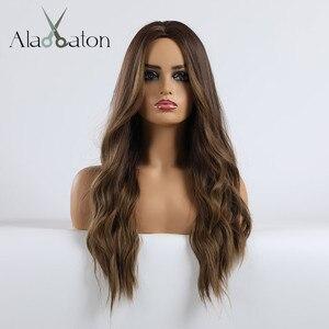 Image 3 - אלן איטון Ombre כהה חום בלונדיני ארוך גלי תסרוקת פאות עבור נשים טבעי גל סינטטי שיער סיבי טמפרטורה גבוהה קוספליי