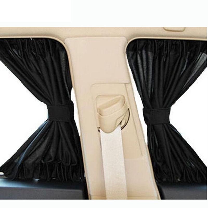 cheapest 2 x Update 70L Aluminum Alloy Elastic Auto Car Side Window Sunshade Curtain Sun Visor Blinds- Black Beige Gray