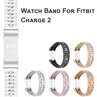 Bling Edelstahl Metall Armband Armband Band Für Fitbit Gebühr 2 Smart Uhr Austauschbare SmartWatch Unterstützung Zubehör