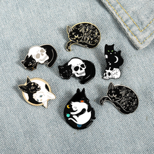 Mystical Witch Cat Enamel Pin Moon and Stars Badge Brooch Lapel Pins Denim Jeans Shirt Bag Punk Jewelry Gift for Friends