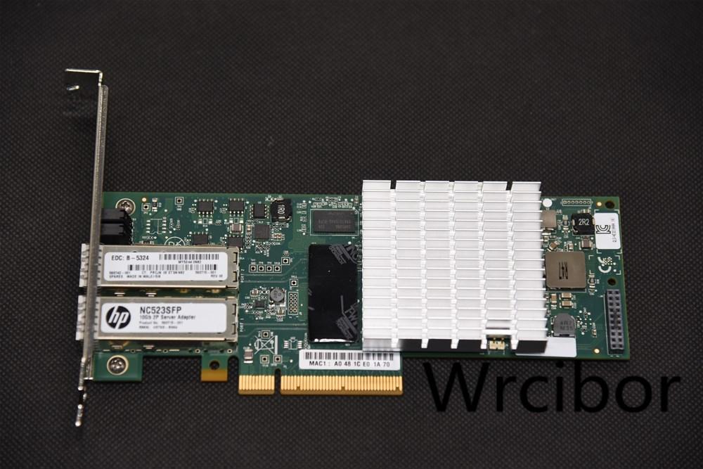 HP NC523SFP QLE3242 Dual Port 10GbE 593742-001 593715 PCI-E NIC Network Adapter 2  3M SFP Cable