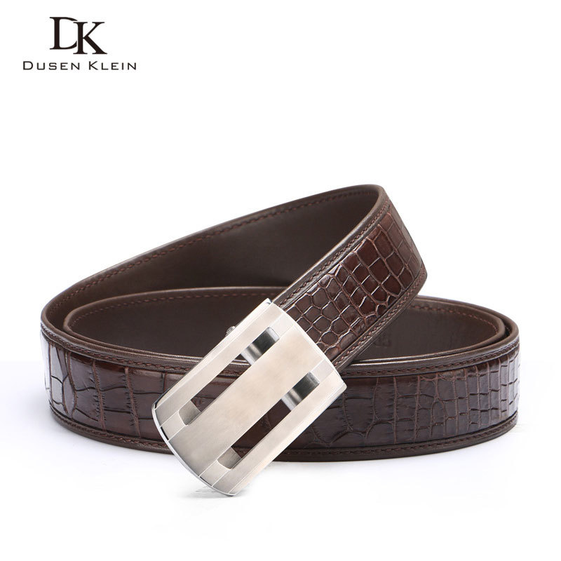 Nuevo cinturón de cocodrilo genuino cinturón de hebilla de acero inoxidable para hombre de negocios casual cuero cocodrilo cintura negro/marrón Correa E318 - 3