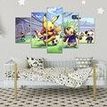Pokemon HD Print 5 Pieces Anime Pikachu Modular Poster Modern Home Decoration Mural Living Room Bedroom Decor Canvas Painting