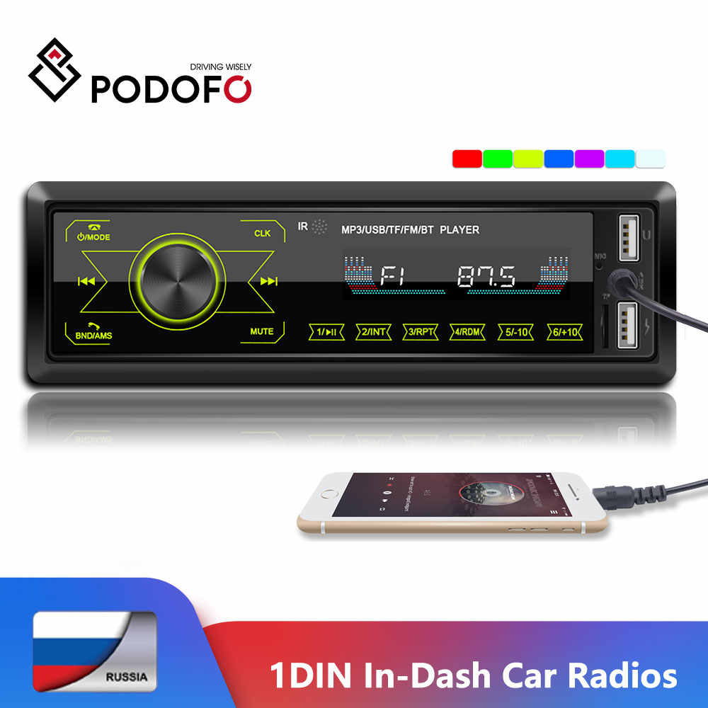 Podofo 1DIN In-Dash Car Radio Stereo di Controllo Remoto Bluetooth Audio Stereo 12V Auto Radio Mp3 Lettore USB/AUX-IN luci Colorate