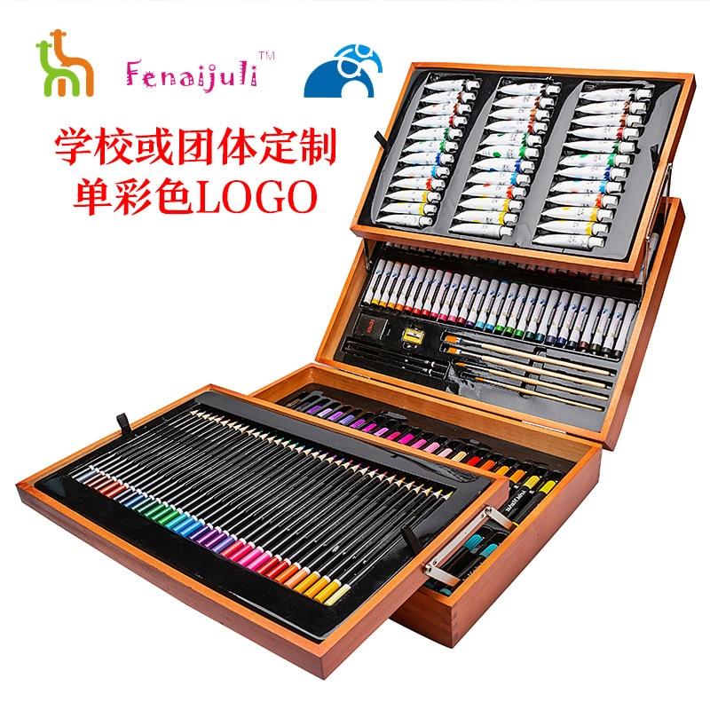 School Season Gift 174-Piece Painting Kit Fine Art Training Only Crayon Watercolor Pen Gift Box Customizable Logo