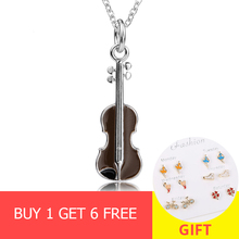 цена XiaoJing 2019 new arrival 925 sterling silver brown violin pendant chain necklace diy fashion jewelry making for women gifts