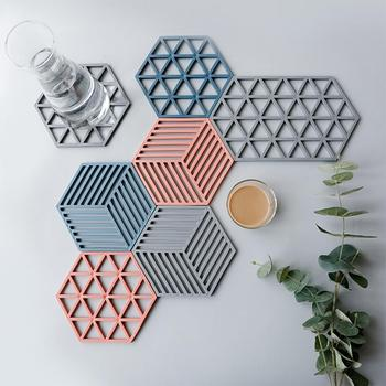 Chic Silicone Coaster Cup Hexagon Mats Pad Heat-insulated Bowl Placemat Home Decor Desktop Eco-friendly Japanese Simple 1PCS image