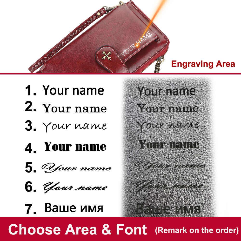 Nazwa grawerowanie portfele damskie etui na karty klasyczne długie najwyższej jakości skórzana torebka damska Zipper marka portfel dla kobiet Carteria